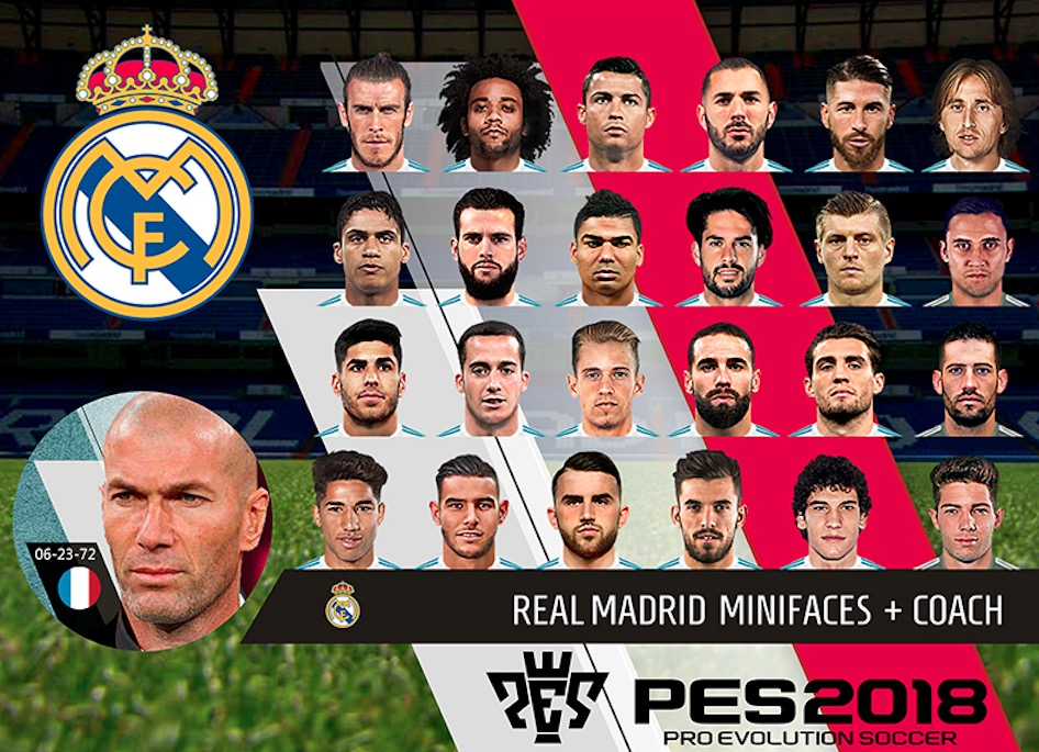 Мини-фейсы для ФК Реал Мадрид PC версии PES 2018