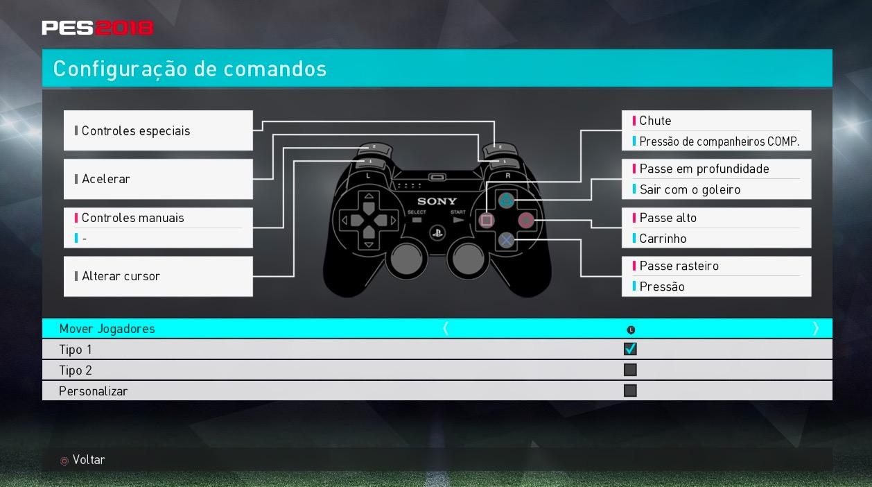 Кнопки управления в PES 2018 с PC версии на PS3