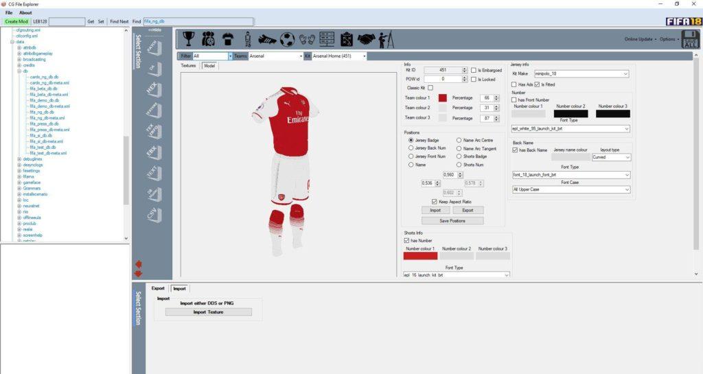 CG File Explorer для редактирования FIFA 18