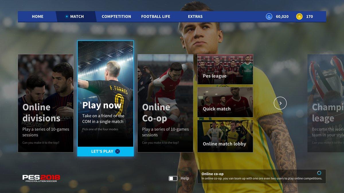 Как должно выглядеть главное меню игры PES 2019