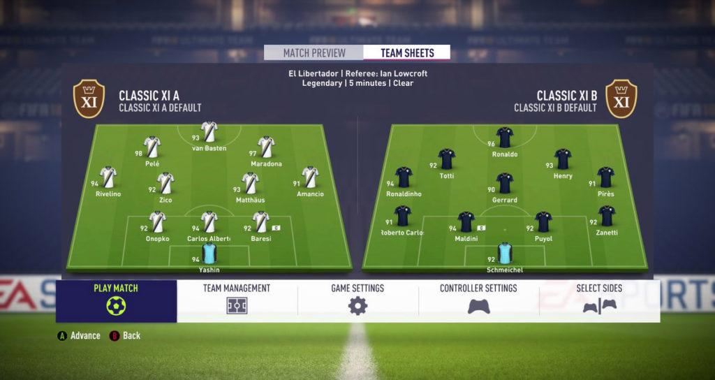 Классические сборные в FIFA 18