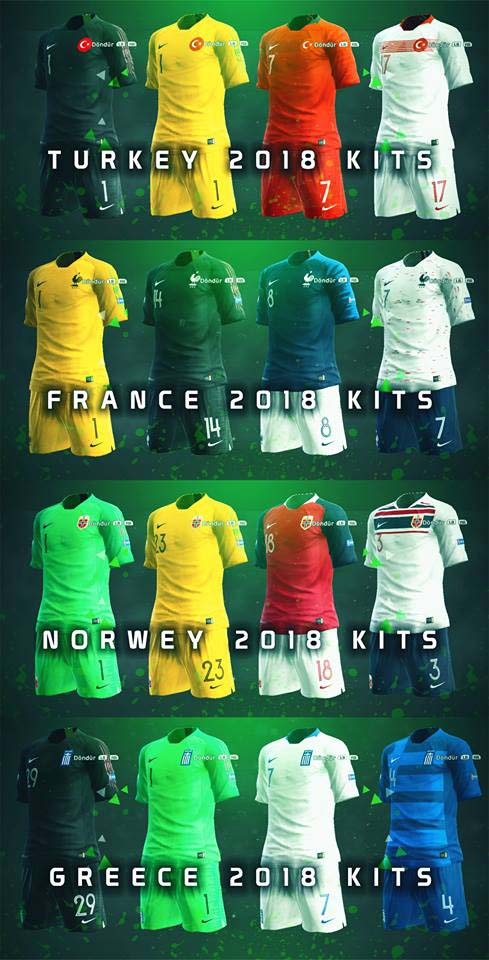 Форма сборной Франции, Греции, Турции и Норвегии 2018
