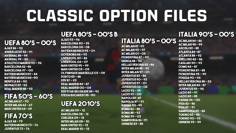 Classic Option Files PES 2018 для PS4