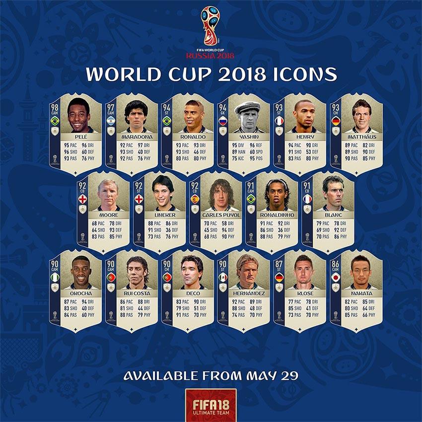 Легендарные кумиры доступны в World Cup Russia 2018