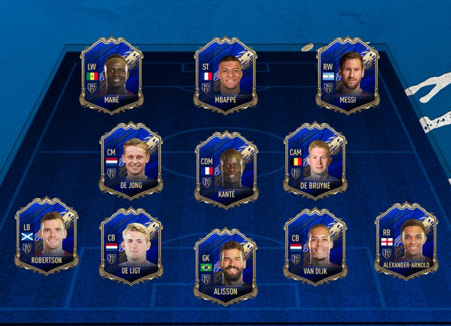 EA Sports представила команду лучших футболистов прошлого года в FIFA 20